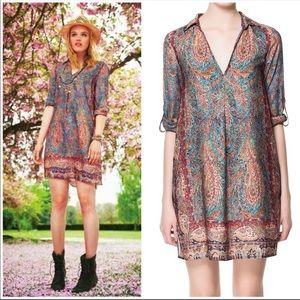 Zara Basic Boho Feathers Paisley Tunic Dress